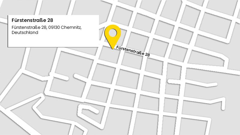Lage der Kanzlei Kohn in der Fürstenstraße 28 in 09130 Chemnitz